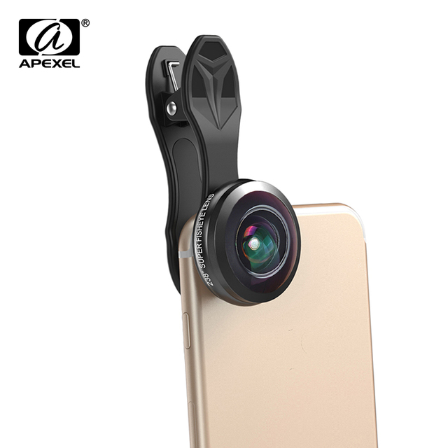 Apexel Optic Pro lens universal 238 degree Ultra fisheye lens  0.2x Super wide fish eye lentes for iPhone Samsung smartphone