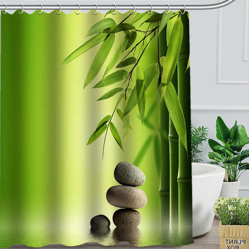 Bamboo Pattern Shower Curtain Beautiful Bath Screens Home Bathroom Decoration Custom Polyester Fabric Printing