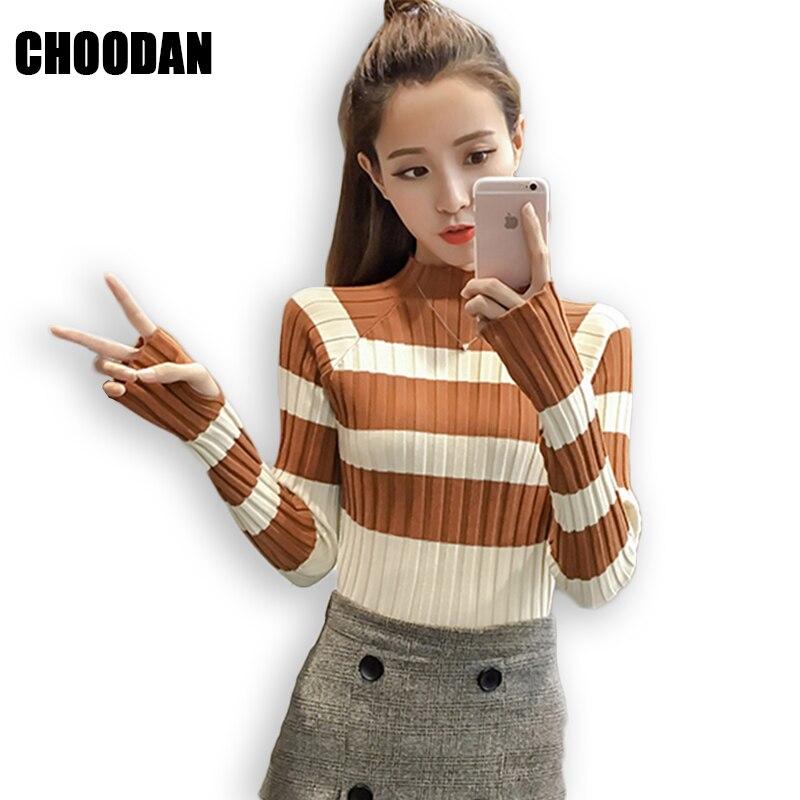 Stricken Pullover Frauen Gestreifte Langarm Rollkragen Pullover Herbst Winter Mode 2018 Koreanische Stil Fitness Pullover Weibliche