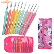 10 PCS/Set KOKNIT New Candy Color DIY Knitting Crochet Hooks Set -Pink Case Craft Sewing Tools For Women Gift