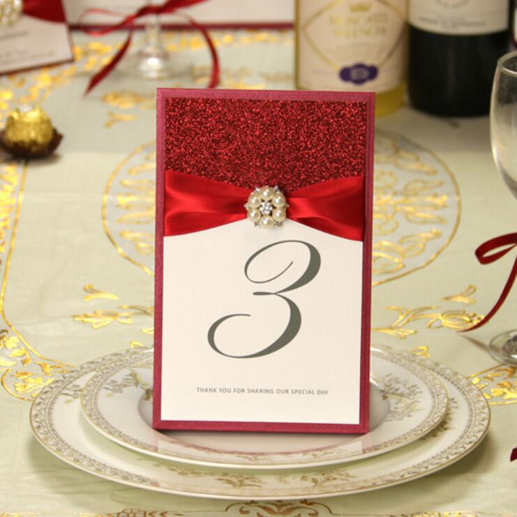 Aliexpress Buy Red Wedding Invitations Table Number Card TB31 Party Decorations With Ribbon And Silver Brooch Free Shipping From Reliable