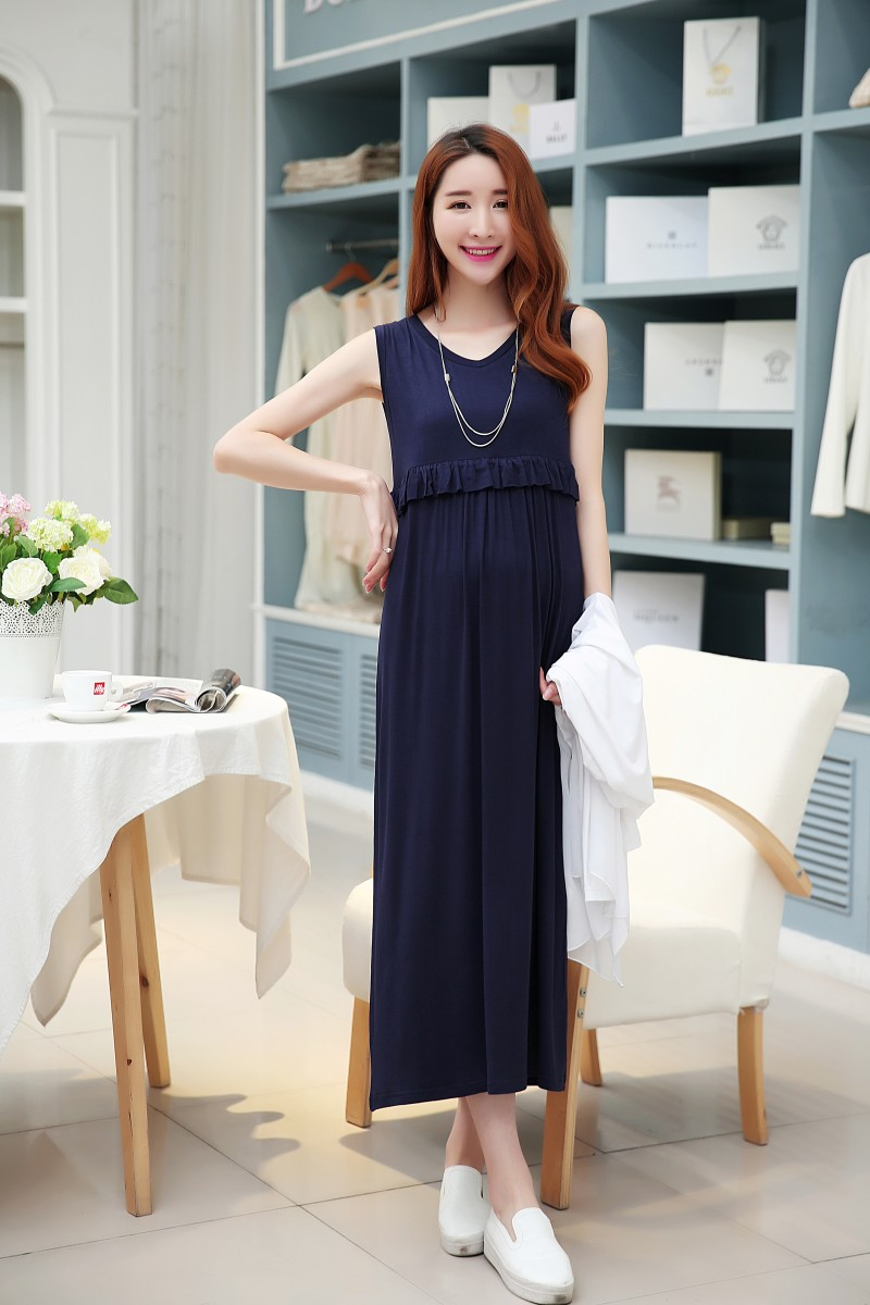 Pregnant Womens Dress Breast-feeding Maternity Dress Clothes Go Out Sleeping Skirts Long Vest Home Clothing Summer