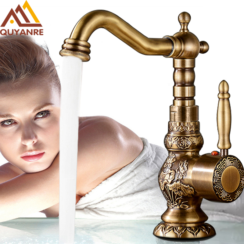 Quyanre Antique Brass Bathroom Basin Carved Faucet Long Nose Spout Wash Sink Tap 360 Rotation Single Handle Mixer Tap torneiras-in Basin Faucets from Home Improvement    1