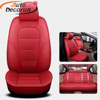 AutoDecorun 15PCS/Set Genuine Leather Seat Covers Set for Volvo V40 Accessories Seat Cover 2013-2018 Car Seats Protector Styling