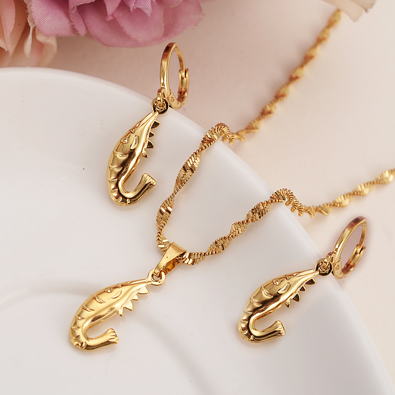 Africa 24k Gold cute shrimp Necklace earrings Trendy women Men Jewelry Charm Pendant Chain Animal Lucky Jewelry sets kids Gift