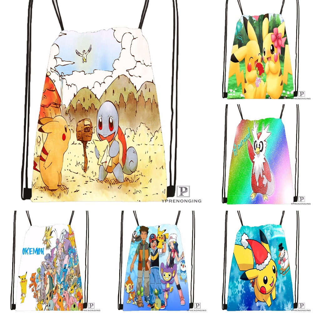 Custom Pokemon Anime Style Drawstring Backpack Bag Cute Daypack Kids Satchel (Black Back) 31x40cm#180531-02-07