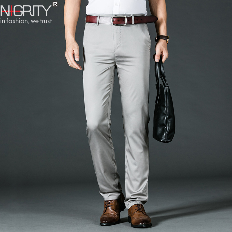 NIGRITY 2019 New 4 Color Straight Casual Pants Men's New Business Tencel Slim Trousers Men's Black Khaki Large Size 42