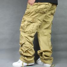 2019 New Loose Cargo Pants Overalls Hip Hop Men's Cotton Tro