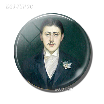 Marcel Proust Portrait Fridge Magnet 30 MM Glass Cabochon Literary Master Magnetic Refrigerator Stickers Note Holder Home Decor image