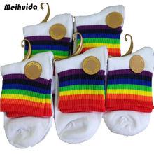 Rainbow Socks Washi Tape Crop Top Short Tube College Stripe Women Funny