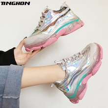 TINGHON Woman Lace Up Breathable Bling Sneakers For Women Round Toe Flat Shoes Women Shoes Casual Flat Shoes Platform Femme 2017 hot selling crystal embellished woman casual shoes round toe white leather flat shoes lace up flat shoes high top shoes