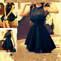 New Arrival Scoop Cocktail Dress Mini Length A Line Party Dress 2017 Sleeveless Prom Dresses Black Pleated Dress Off Shoulder