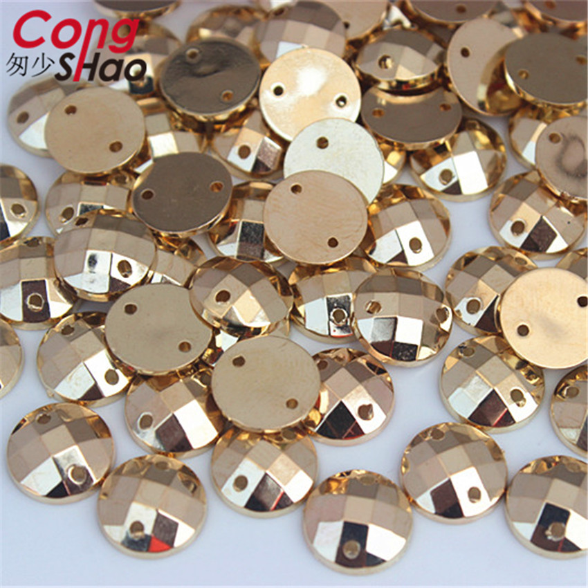 Cong Shao 300Pcs 10mm Gold Color Round Flatback Acrylic Rhinestone Stones And Crystals Sewing 2 Hole Costume Button CS225C