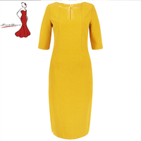 Deviz kraliçe zarif ofis elbiseler marka 2017 yeni v yaka tasarım kadın rahat basit sarı bodycon slim dress wear çalışma