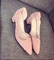 [328] обуви женской обуви Новые женские Сандалии Насосы Обувь Осень Женщины Розовый Толстый Квадратный Каблук Сексуальные Ботинки Pu 35 ~ 39 Размер. FLT-Y661