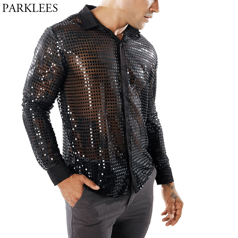 Shiny Sequin Transparent Shirt Men 2018 New Sexy See Through Chemise Homme Nightclub Stage Prom Dance Shirt Male Camisa Social