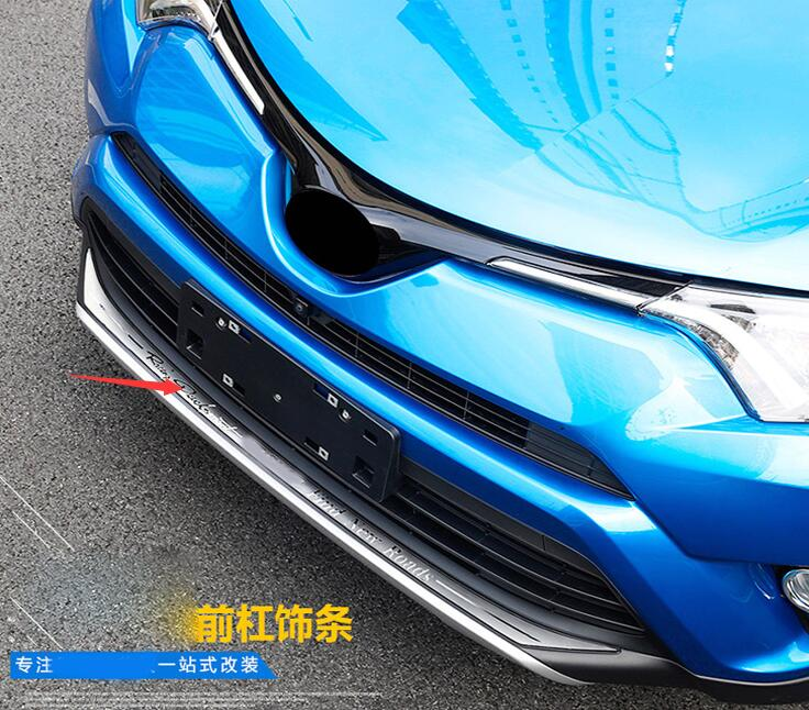 Car styling high quality stainless steel Front Rear Bumper Cover Trim For Toyota RAV4 2016 2017 2018