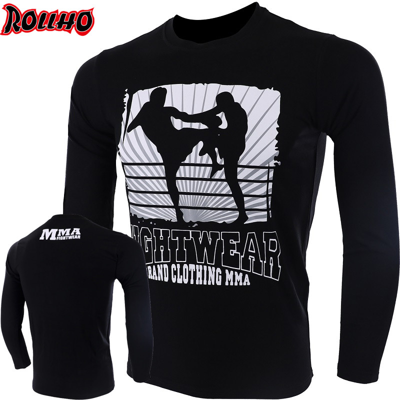 ROLLHO Thailand THAI Boxing MUAY THAI Training Fighting Combat Sod For Flying Knees T-shirt Fight MMA Wulin Fitness