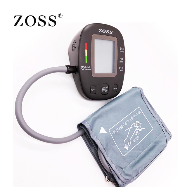 ZOSS latest models English or Russian Voice German chip LCD upper arm blood pressure monitor heart beat instrument tonometer 4