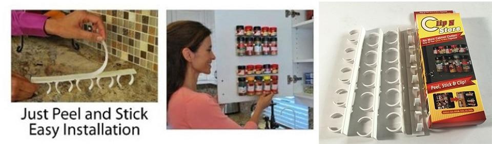 20 PC SET New Kitchen Clip Spice Gripper Jar Rack Storage Holder Wall Cabinet Door Storage Racks Kitchen Tools Bathroom Shelves (9)