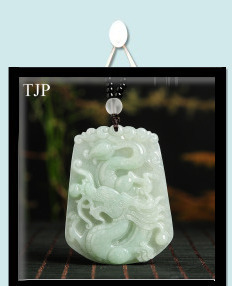 Beautiful Genuine Handmade Natural White Jade Carved Dragon Phoenix Pendant + Necklace Fashion Carving Pendants Jewelry