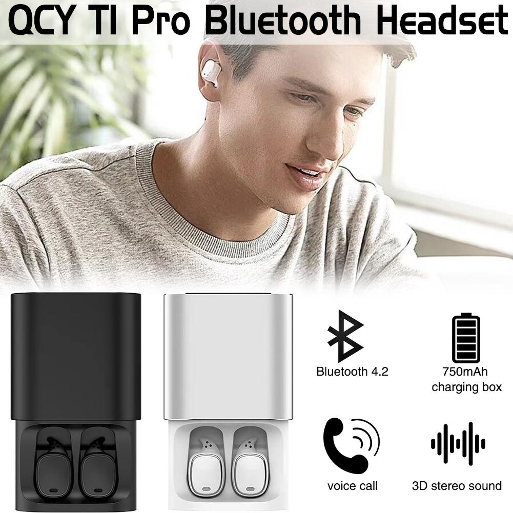 QCY T1 Pro Touch Control Bluetooth Écouteurs TWS Mini Sans Fil Casque avec Micro Mains Libres Musique Écouteurs et 750 mah de charge boîte