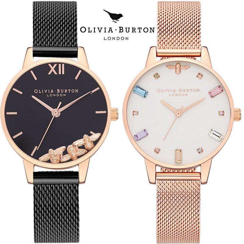Olivia Burton Women Watches Starry Green Dial Reloj Mujer Ladies Wristwatch Ultra-thin Stainless Steel Strap Quartz Montre Femme