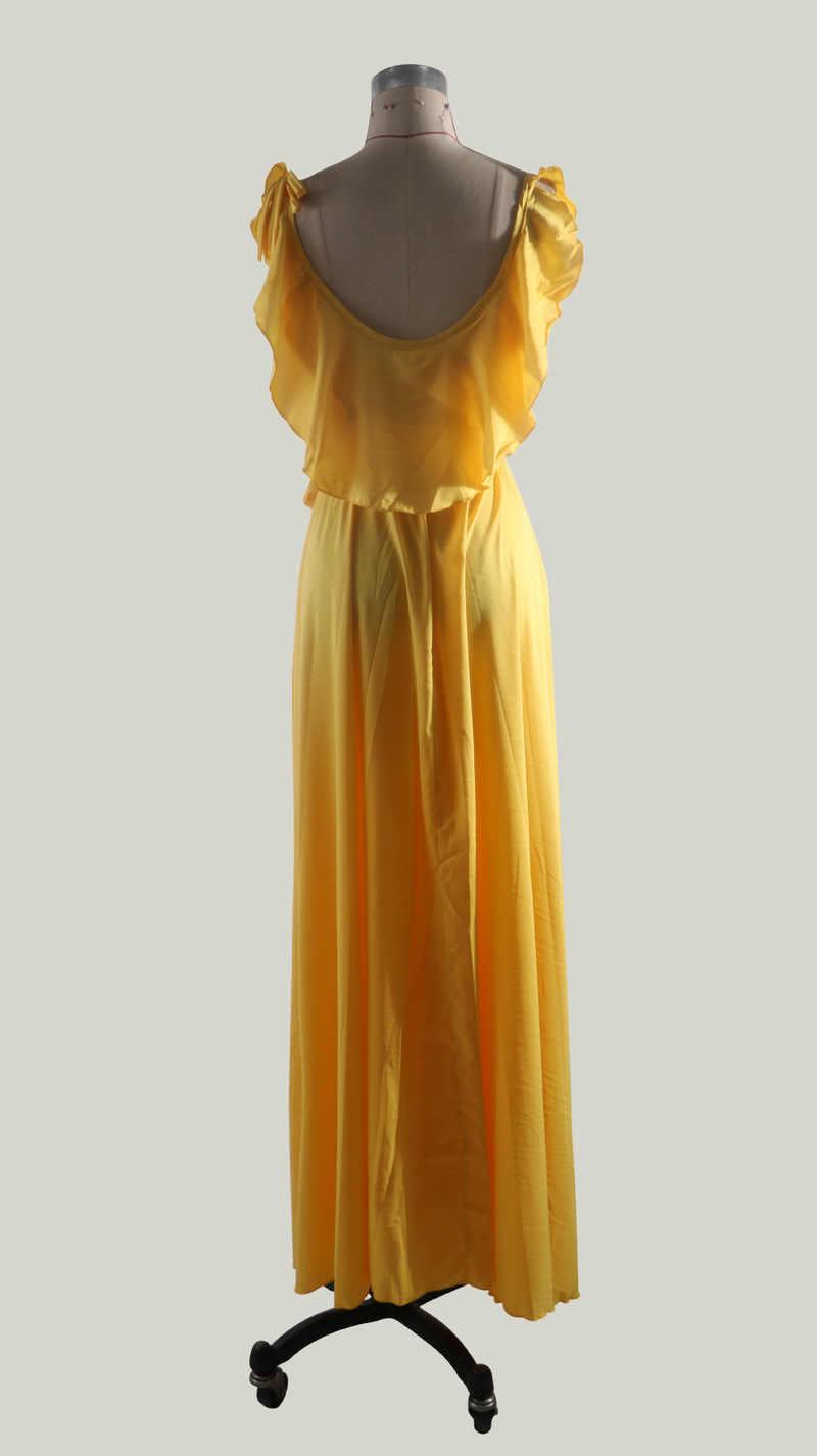 Bohemian Vrouwen Mouwloze Zomer Mode Maxi Jurk 2020 Sexy V-hals Jurk Elegant Split Vooraan Ruches Bodycon Lange Gele Jurk