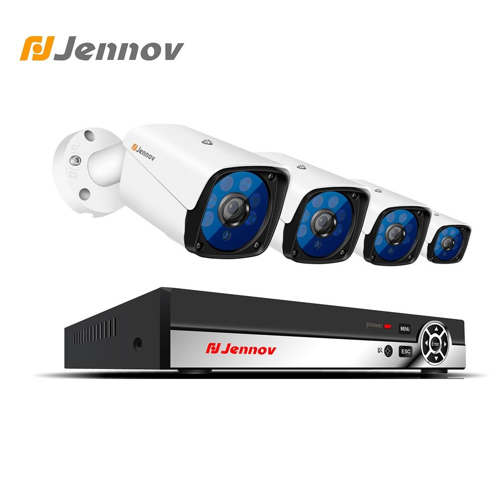 цена Jennov 4CH 1080P CCTV Kit Security Camera System Video Surveillance Kit IP Camera NVR HDMI P2P 2MP Outdoor Weatherproof IR-Cut