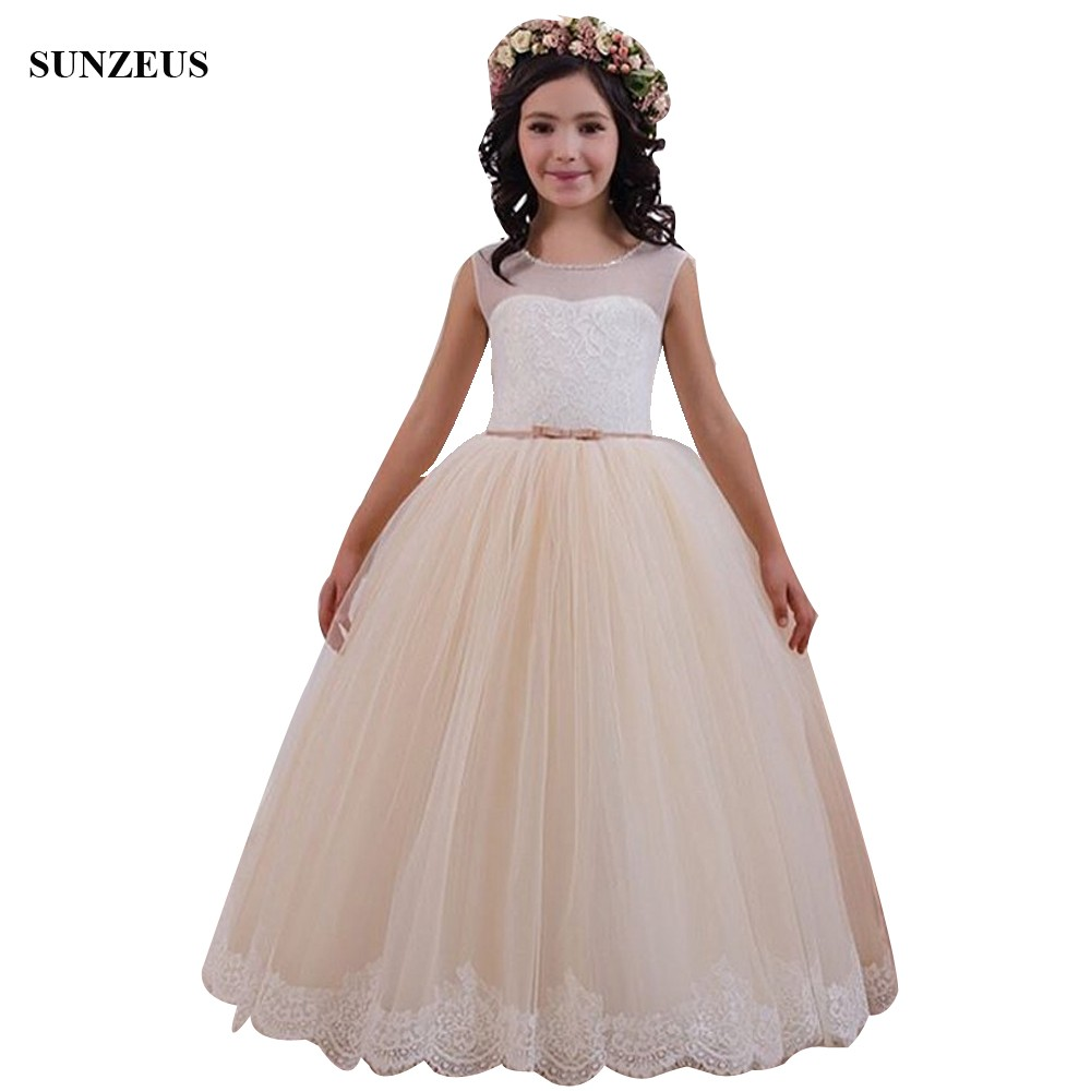 Beautiful Champagne   Flower     Girl     Dress   A-line Beaded Neckline Tank Wedding Party   Dress   Lace Gown Kids blumenmadchenkleid FLG102