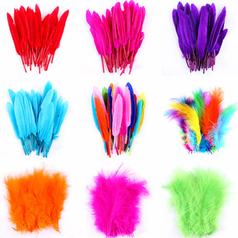 Colorful Feather Kids Children DIY Handmade Crafts Materials Feathers Stage Show Party Supplies Navidad