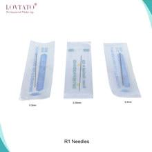 Agulhas descartáveis r1 para tatuagem, agulhas redondas 1r, agulhas para maquiagem permanente de sobrancelha e lábios, agulha para 0.35mm/0.4mm