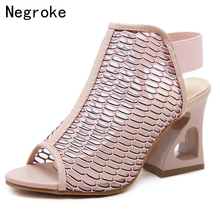 2019 Summer High Heels Women Sandals Hollow Out Breathable Mesh Sexy Party Wedding Shoes Woman Gladiator Sandalia Feminina sandalia feminina 20 cm extreme high heels sandals women transparent cut out platform sandals 20 cm sexy t station shoes wedding