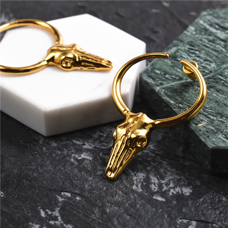 Brass Bull Skull Earrings Designed by European and American Fashion Major Brand and High end Small