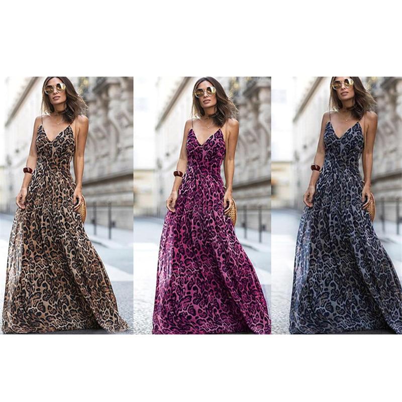 2019 Fashion Sexy Dress Leopard V Neck Spaghetti Strap Maxi dresses Women Summer Chiffon Beach Long Dress Vestidos robe femme