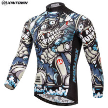 Hot Men Bike Long jersey Gray Skull Pro Team Cycling clothing Riding Top Male MTB Ropa Ciclismo Wear Maillot Long Sleeve Shirts