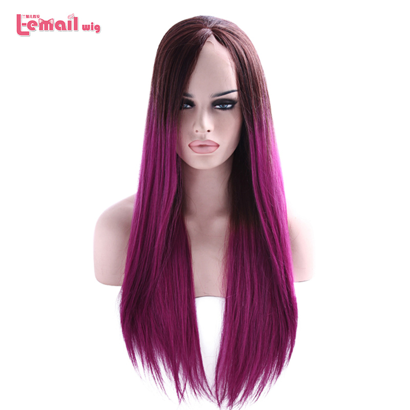 L-email wig Long Purple Lace Front Wigs 70cm Mix Color Straight Hair Wig Women Hair Heat Resistant Synthetic Hair Perucas(China)