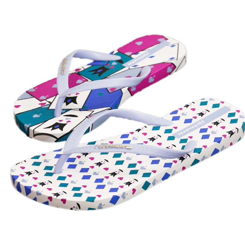 Hotmarzz Women Summer Poker Cards Slippers Beach Flip Flops Ladies Fashion  Flat Thong Sandals Non slip Pool Slides-in Flip Flops from Shoes on ... ccb99f54572c