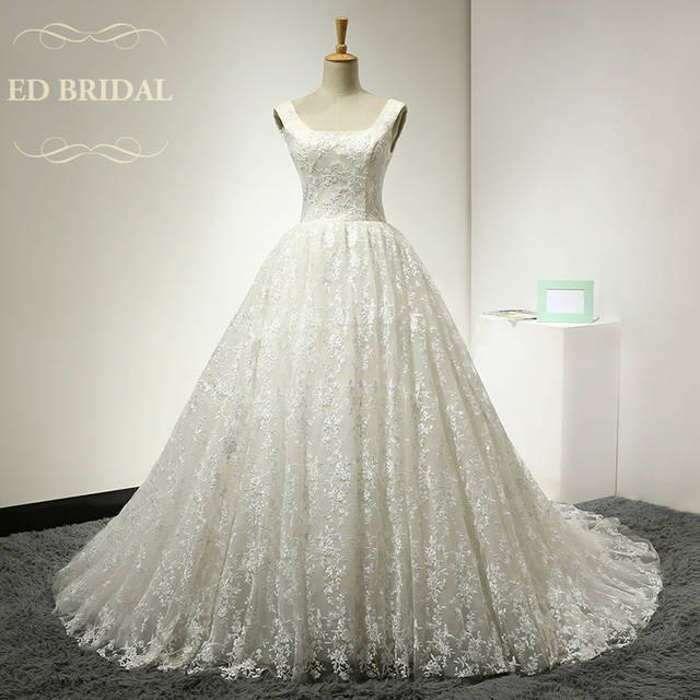 Vintage Ball Gown Backless Embroidery Lace Wedding Dress Luxury Open ...