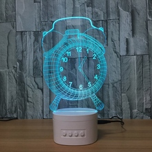 3D Alarm Clock Optical Illusion Visible Night Light With Bluetooth Speaker Base Led Desk Lamp, 5 Color For Usb, Children Baby