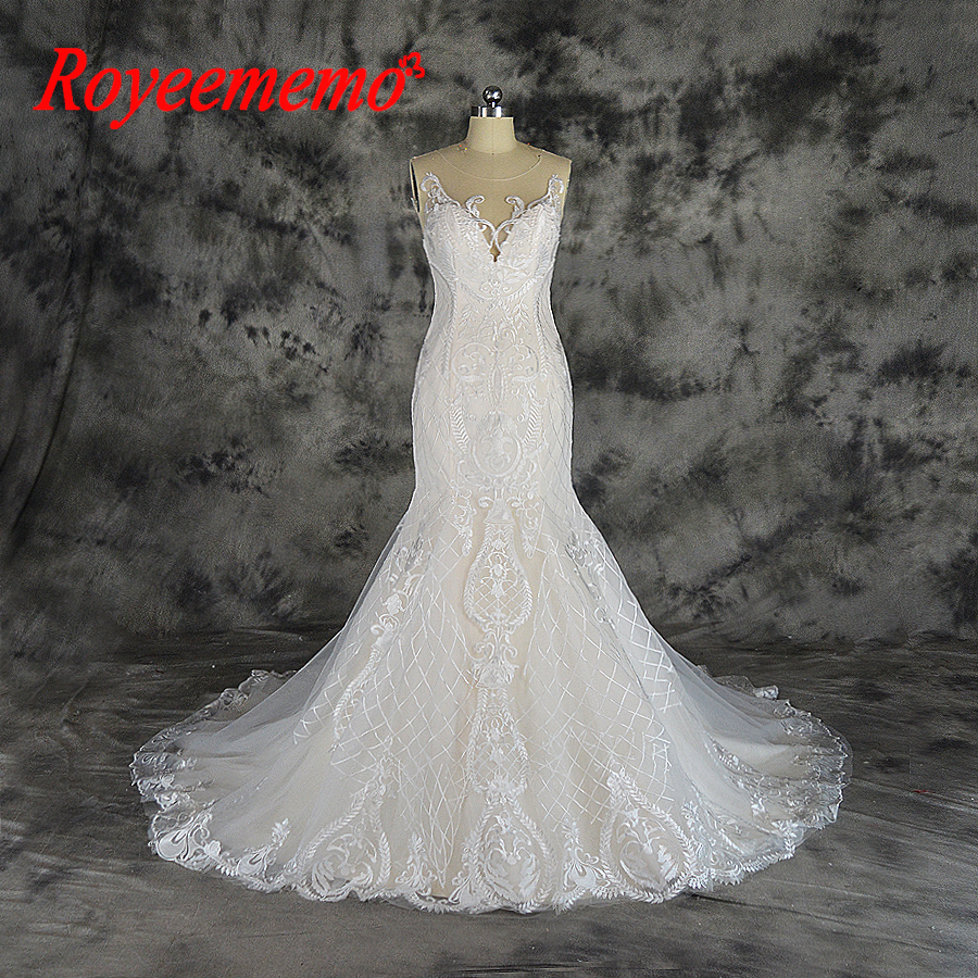 Champagne Lace Wedding Gown: 2019 New Design High Quality Champagne And Ivory Lace