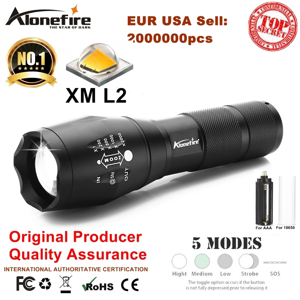 Alonefire G700 CREE XM-L2 T6 V6 8000Lm Aluminum led flashlight Zoom Tactical Torch hunting Travel AAA 18650 Rechargeable battery