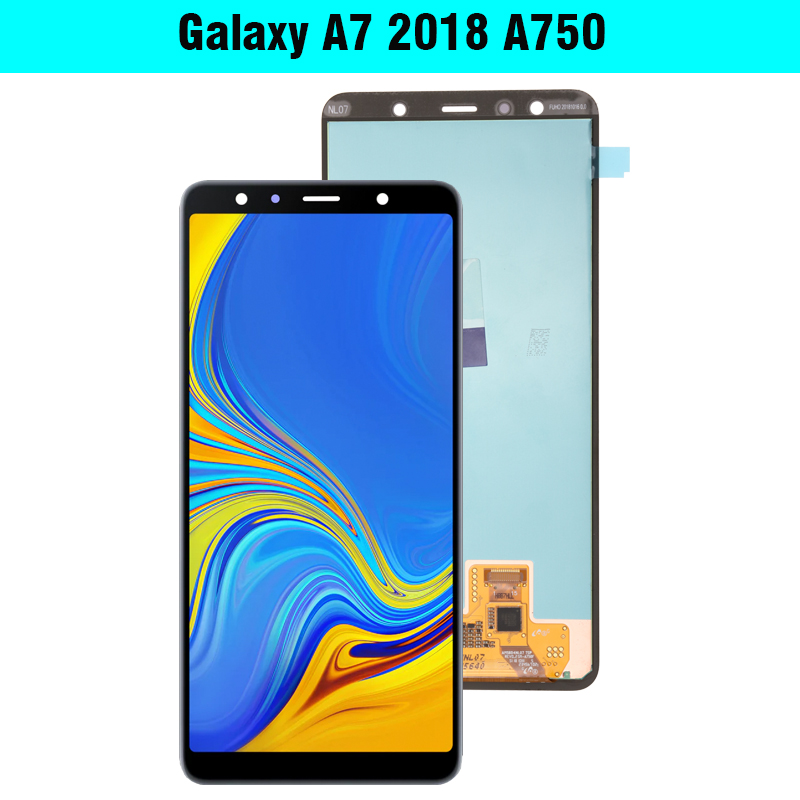 6 0 Super AMOLED LCD For Samsung Galaxy A7 2018 A750 SM A750F A750F Display With 6.0'' Super AMOLED LCD For Samsung Galaxy A7 2018 A750 SM-A750F A750F Display With Touch Screen Assembly Replacement Part
