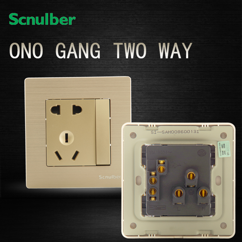 Golden Metal Brushed 2 Pin And 3 Pin 10a Adapter One Way