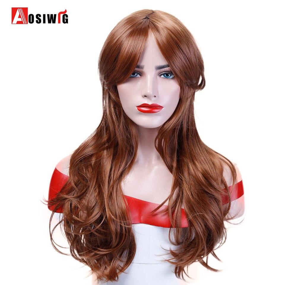 Длинные волнистые Косплэй коричневый рыжий парик Puprle зеленый розовый цвет: черный, синий ленты высокого Температура волокна 65 см синтетиче...
