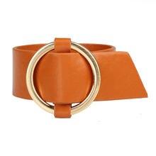 Кожаный браслет janeyacy модный с круглой пряжкой золотого цвета