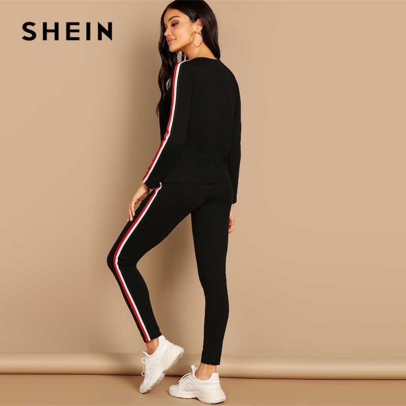 ae4632c54dea SHEIN Streetwear negro rayado cinta T pantalones de manga larga de cuello  redondo conjunto de dos piezas de mujer 2019 otoño liso Twopiece