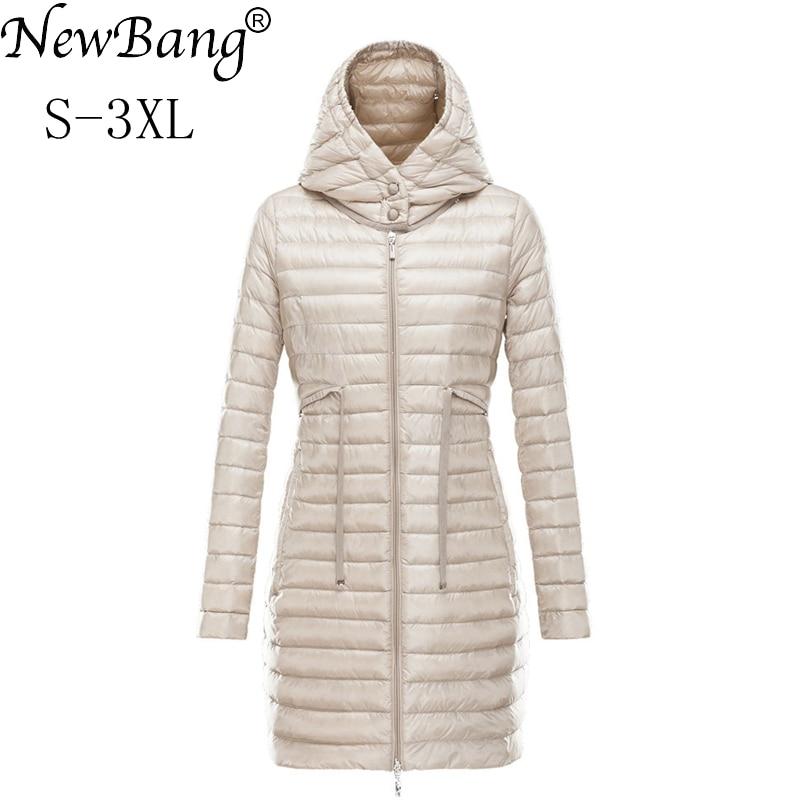 NewBang Brand Women's Down Jackets Ultra Light Down Jacket Women Long Jacket Female Portable Lightweight Slim Warm Feather Coat