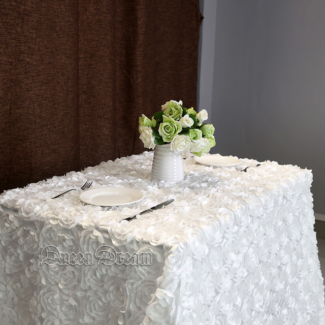 White 60u0027u0027x102u0027u0027 Wedding Tablecloth Rectangular Sequin Table Overlays 3D  Rose Flower