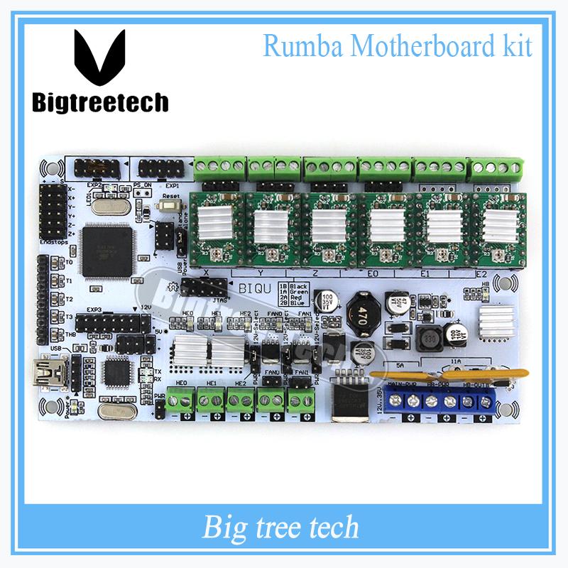 Prix pour BIQU Rumba Pour 3D imprimante carte mère rumba MPU RUMBA optimisé version Tableau de commande avec 6 pcs A4988 Stepper Pilote